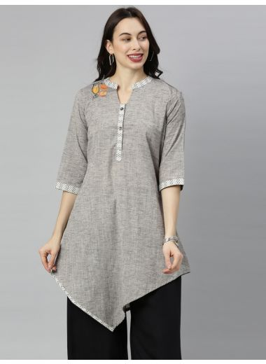 "Neeru'S Gray Colour Cotton Fabric Tunic ""52"""