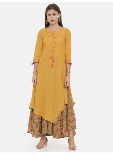 Neeru'S Mustard Color, Muslin Fabric Tunic Set
