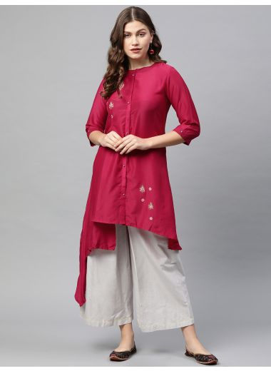 Neerus Women Pink Embroidered Asymmetric A-Line Kurta