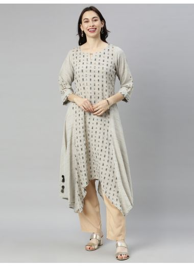 "Neeru'S Gray Colour Cotton Fabric Tunic ""54"""