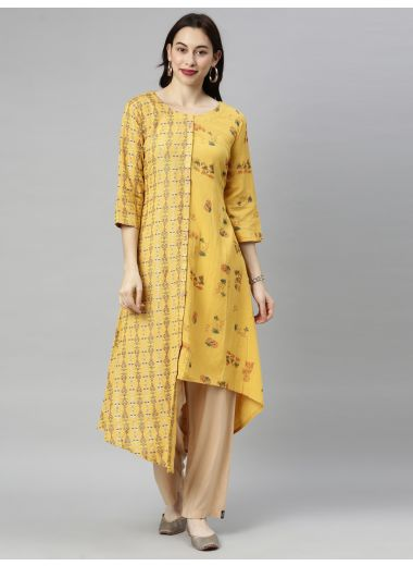 Neeru'S Mustard Colour Cotton Fabric Tunic