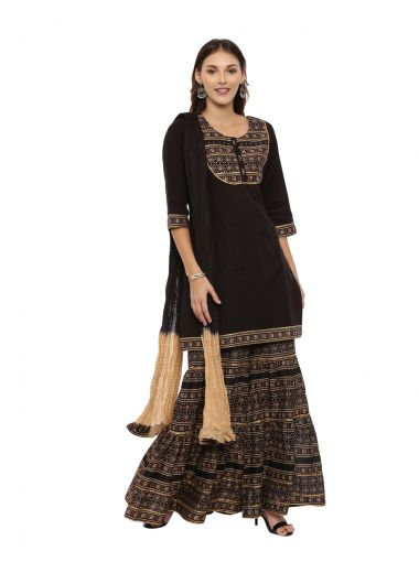 Neeru'S Black Color, Cotton Fabric 3/4 Sleeves Suit
