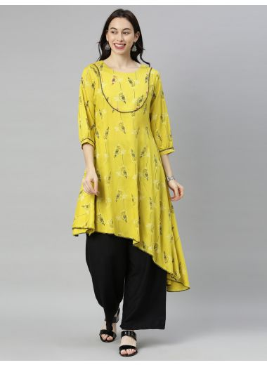 "Neeru'S Lemon Yellow Colour Rayon Fabric Tunic ""48"""