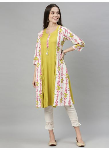 Neeru'S Green Color, Rayon Fabric Tunic