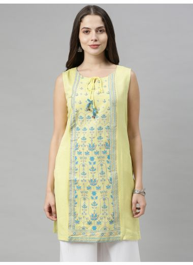 Neeru'S Yellow Color, Flex Fabric Tunic