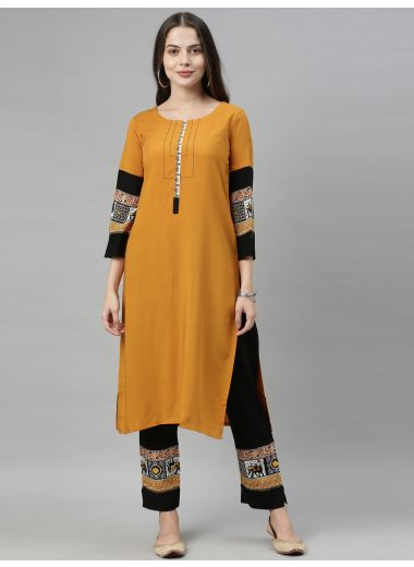 Neeru'S Mustard Color, Rayon Fabric Plazo Set