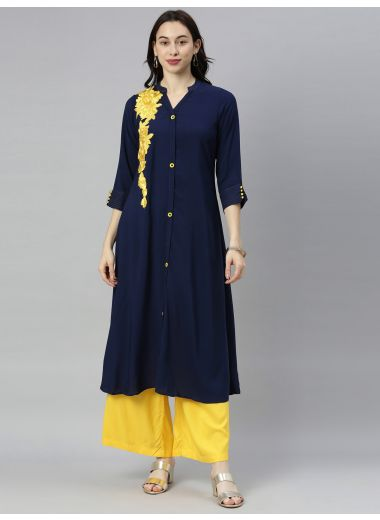 Neeru'S Navy Blue Colour Rayon Fabric Tunic 48