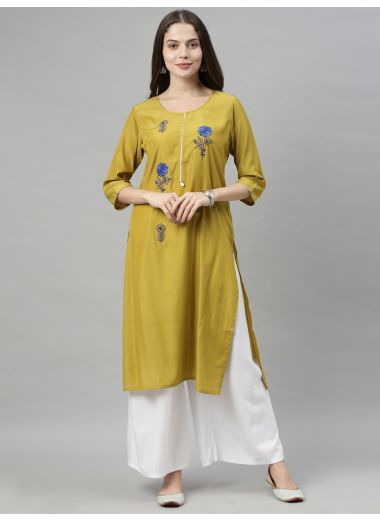 Neeru'S Green Color, Muslin Fabric Tunic