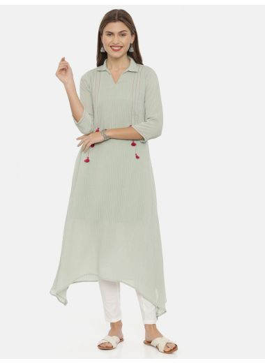 Neeru'S Pista Green Color, Muslin Fabric Tunic 46